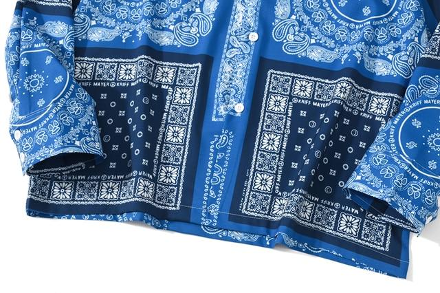 [EWQ] 2021 Spring Nw Blue Bandana Shirt  Print Retro Turn-down Collar Street Shirt Long Sleeved Casual Shirts Blouse Plus Size 4