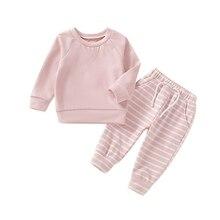 Блузка с длинными рукавами для маленьких мальчиков и девочек, штаны в полоску, пижама, комплект одежды для сна