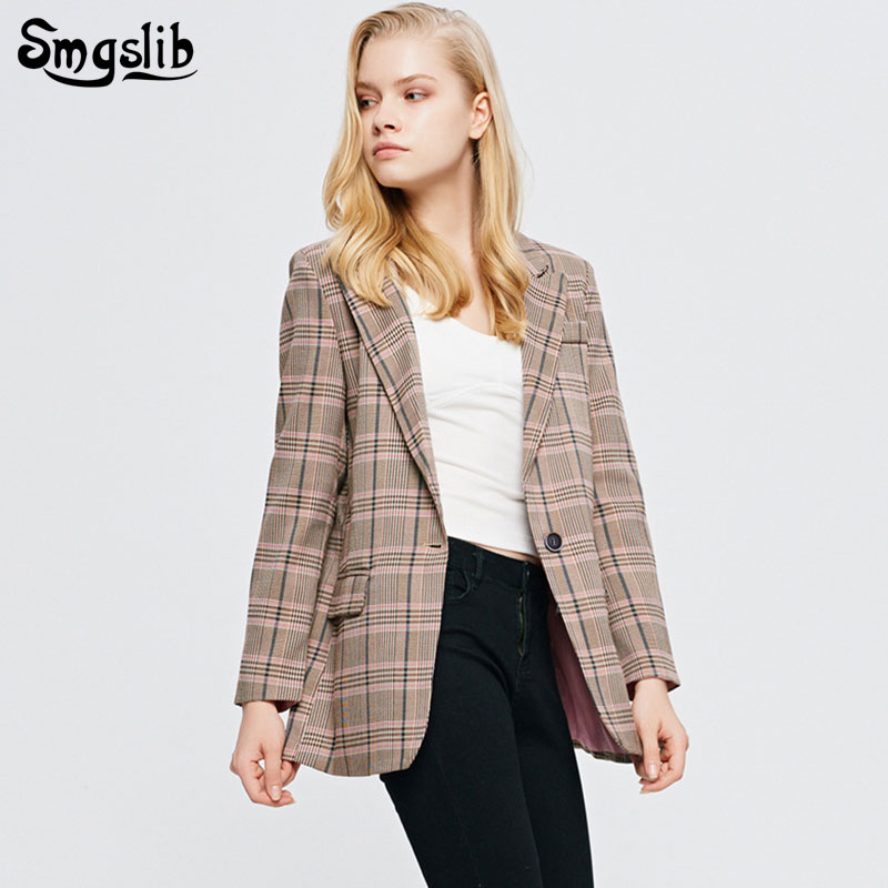2019 Women Blazer Plaid Jacket Female Long Sleeve single button Elegant England style casual Outerwear Business Suit Coat