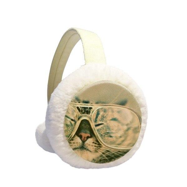 Animal Glasses Cat Photograph Shoot Winter Earmuffs Ear Warmers Faux Fur Foldable Plush Outdoor Gift