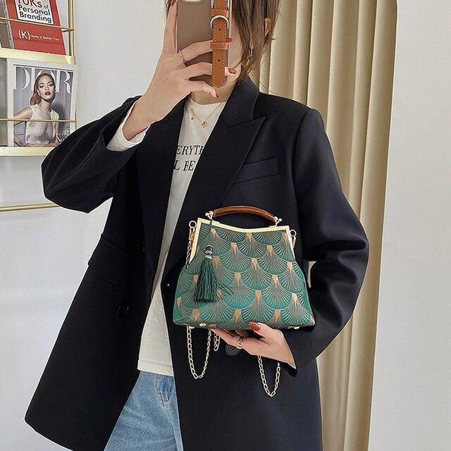 Lock Shell  Vintage Handmade Fringe Chain Shoulder Bag  2