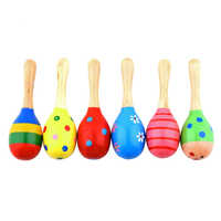 Hot! Kids Baby Wooden Toy Maracas Rumba Shakers Musical Party Rattles New Sale
