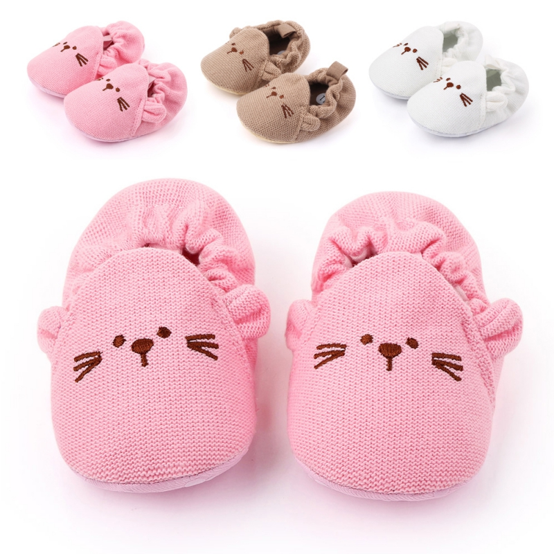 New Baby Cute Knitting Shoes Warm Cribe Shoes Soft Sole Non-slip Cartoon Toddler Shoes Infant Boy Girl First Walking Shoes A