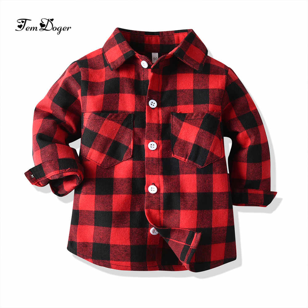Tem doger baby boy girls shirts newborn costumes for baby boys shirt long sleeve plaid blouse infant girls top red grey bl