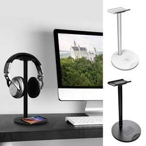 Image 1 - Besegad kulaklık kulaklık kulaklık askı tutucu standı raf w/ QI kablosuz şarj Mat Samsung S8 artı S7 S6 kenar not 5