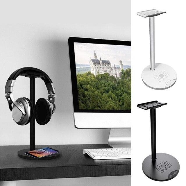 Besegad kulaklık kulaklık kulaklık askı tutucu standı raf w/ QI kablosuz şarj Mat Samsung S8 artı S7 S6 kenar not 5