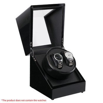 New US Plug Wooden Lacquer Piano Glossy Black Carbon Fiber Double Watch Winder Box Quiet Motor Storage Display Case for Watches