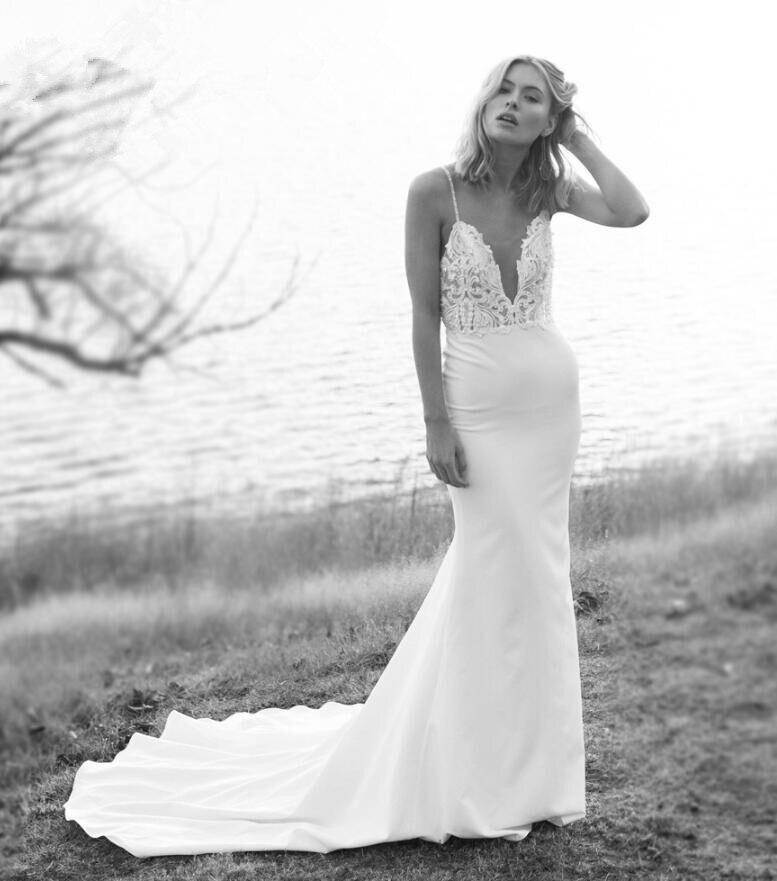 2019 Unique Bridal Crepe Mermaid Gowns Spaghetti Straps Lace Beading Open Back Wedding Dresses