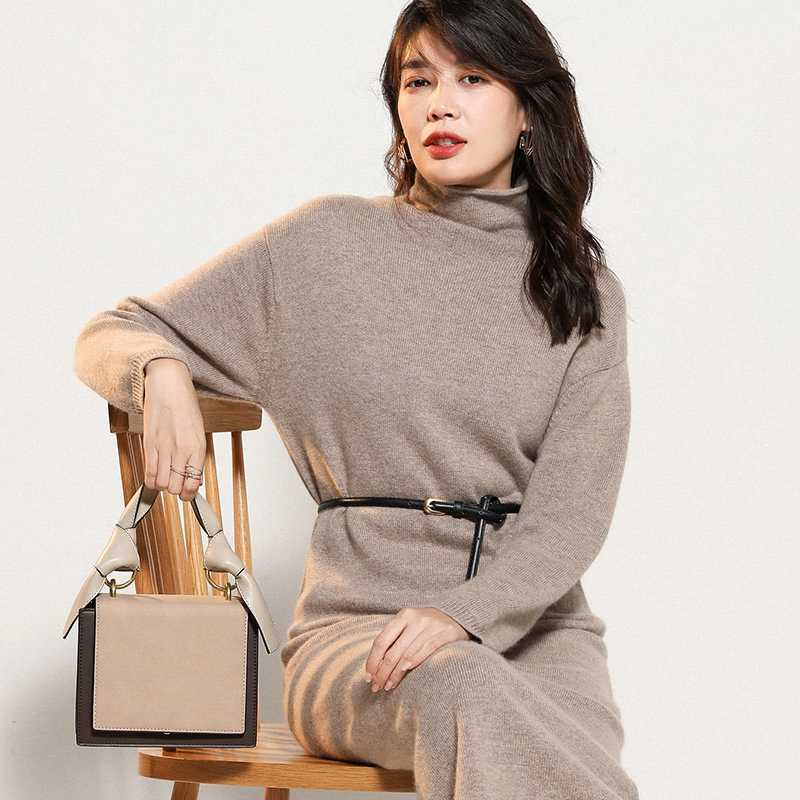 Women Sweater Dresses 100% Pashmina Knitting Jumpers Winter New Turtleneck Long Style Thick Pullovers Pure Cashmere Tops