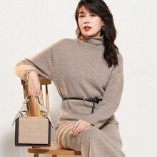 Women Sweater Dresses 100% Pashmina Knitting Jumpers Winter New Turtleneck Long