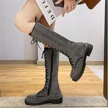 Модные, пикантные Для женщин, на шнуровке, до колен Высокие ботинки с высоким голенищем со стразами Стразы кожаные ботинки на платформе черный, серебристый цвет; Zapatos De Mujer; большие размеры