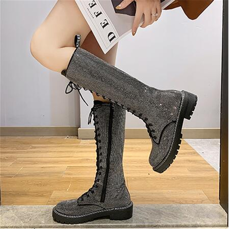 Fashion Sexy Women's Lace Up Knees High Long Boots Bling Rhinestone Leather Platform Martin Boots Black Silver Zapatos De Mujer