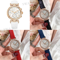 SWA 2019 New SWA Era Journey Sport Chronograph Multicolor Leather Strap Rose Gold Stainless Steel Crystal Case Women's Watch