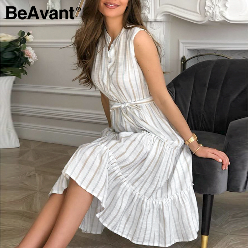 BeAvant Ladies Striped Midi Dress Elegant Summer Sleeveless Work Wear Dresses Chic Women 2020 High Waist Sash Casual Dress Retro