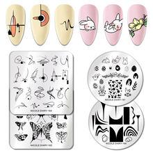 Nicole diary placas de estampagem de unhas, flor retangular, aço inoxidável, estênceis de imagem, modelo de estampagem de unhas