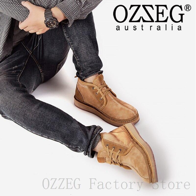 OZZEG/Роскошная брендовая мужская повседневная обувь зимние ботинки австралийские ботильоны из натуральной кожи Зимняя обувь на овечьем мех...
