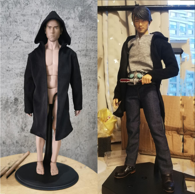 1/6 Scale Model Hooded Woolen Coat Black Agent Coat Clothing Suits For 12