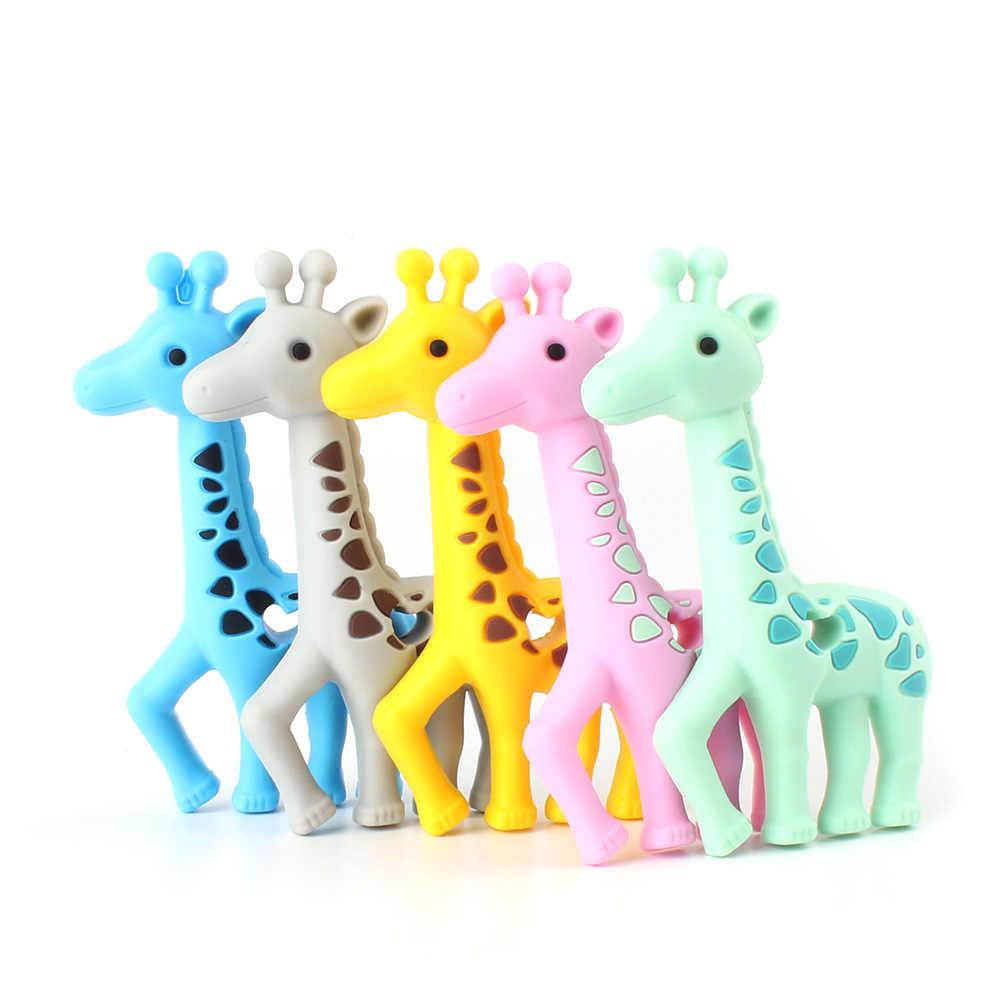 Mordedor de bebê animal de silicone, desenho animado crescimento, mordedor, guaxinim, elefante, koala, girafa, diy, acessórios de brinquedos para bebês