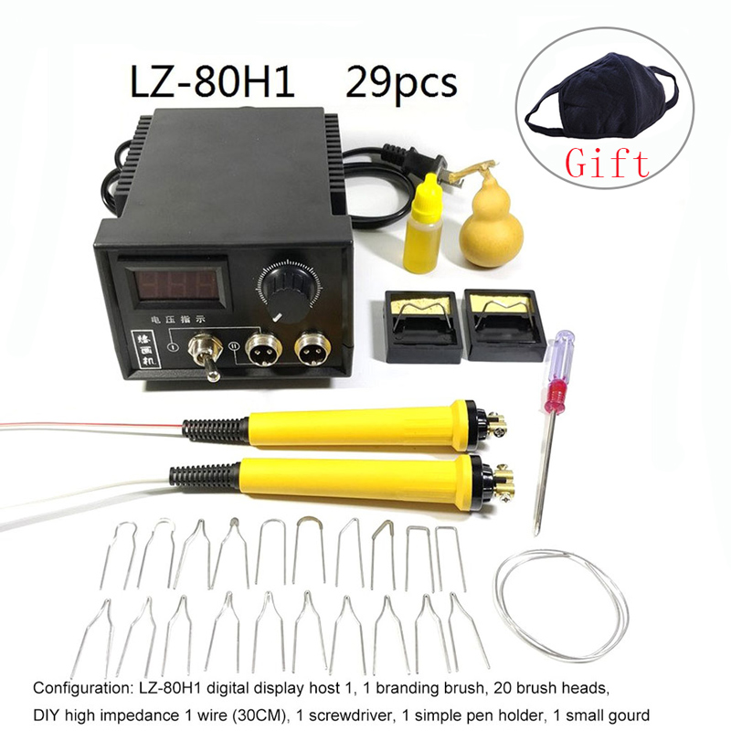 Wood Burning Soldering Irons 60W AC 220V Digital Display Crafts Tools Pyrography Pen Soldering Machine Kit Set with EU Adapter