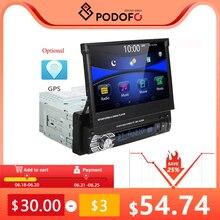 Podofo — Autoradio avec écran tactile de 7 po rétractable, Bluetooth, 1 Din, lecteur multimédia MP5, prend en charge les caméras de recul, SD, FM, USB, radio
