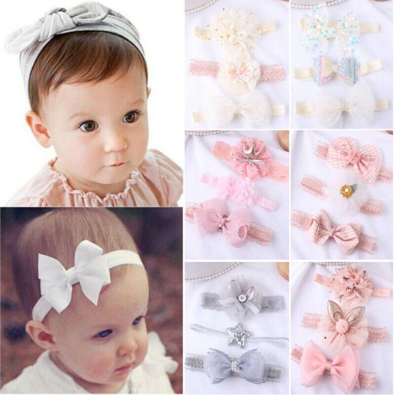 3Pcs//Set Kids Girl Baby Toddler Flower Bow Headband Hair Band Headwear Gift