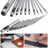 10pcs DIY Handmade Belt Punching Leather Hole Punch Hollow Drilling Tools Leather Handicraft Puncher Set 0.5mm-12mm Leather Tool