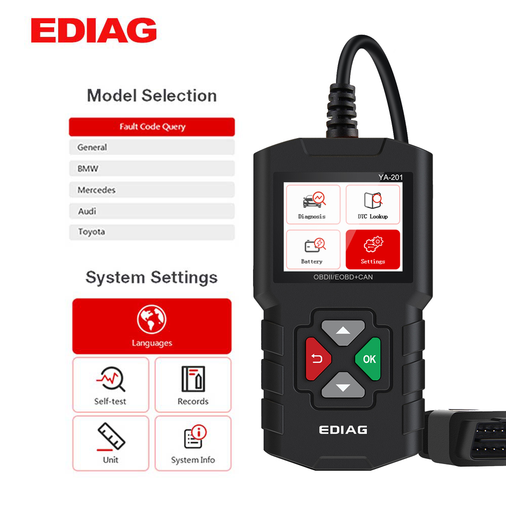 EDIAG YA201 OBD2 Code Reader OBD 2 YA201 Auto Reader Upgrade Via USB FREE Lifetime OBD II Car Diagnostic Tool PK CR3001 AL319