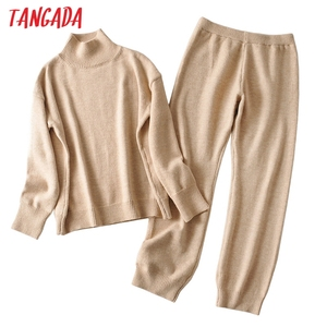 Tangada 2020 Autumn Winter Women thick soft knit suit 2 pieces sets turtleneck pullovers long knitted pants knitted suits AI29