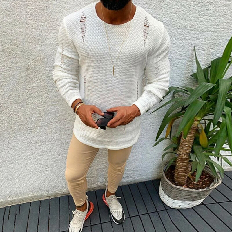 Men Plain Ripped Knitwear Sweater Jumper O Neck Long Sleeve Tops White Regular Hole Sweater