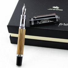 Duke 551 Classic Confucius Natural Bamboo Metal Fountain Pen Calligraphy Pen Medium / Bent Iridium 0.7mm / 1.2mm for Office Gift