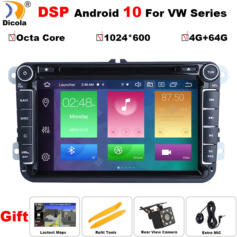 <font><b>2</b></font> <font><b>din</b></font> Android 10 DSP Octa Core 4GB RAM Car DVD for VW Passat CC Polo GOLF 5 6 Touran EOS T5 Sharan Jetta Tiguan GPS Radio BT RDS image