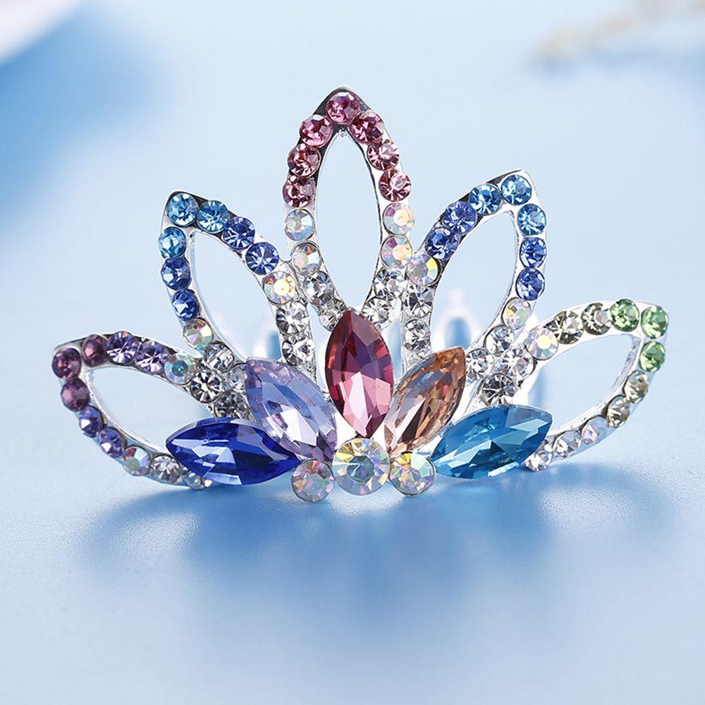 Модная корона принцессы из страз, расческа для волос, миниатюрная Милая тиара, разноцветный головной убор, украшения для волос для девочек, ...
