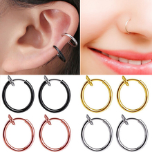 2pcs Fashion Charm Fake Nose Ring Goth Punk Lip Ear Nose Clip On Fake Piercing Nose Lip Hoop Rings Earrings Gold Body Jewelry