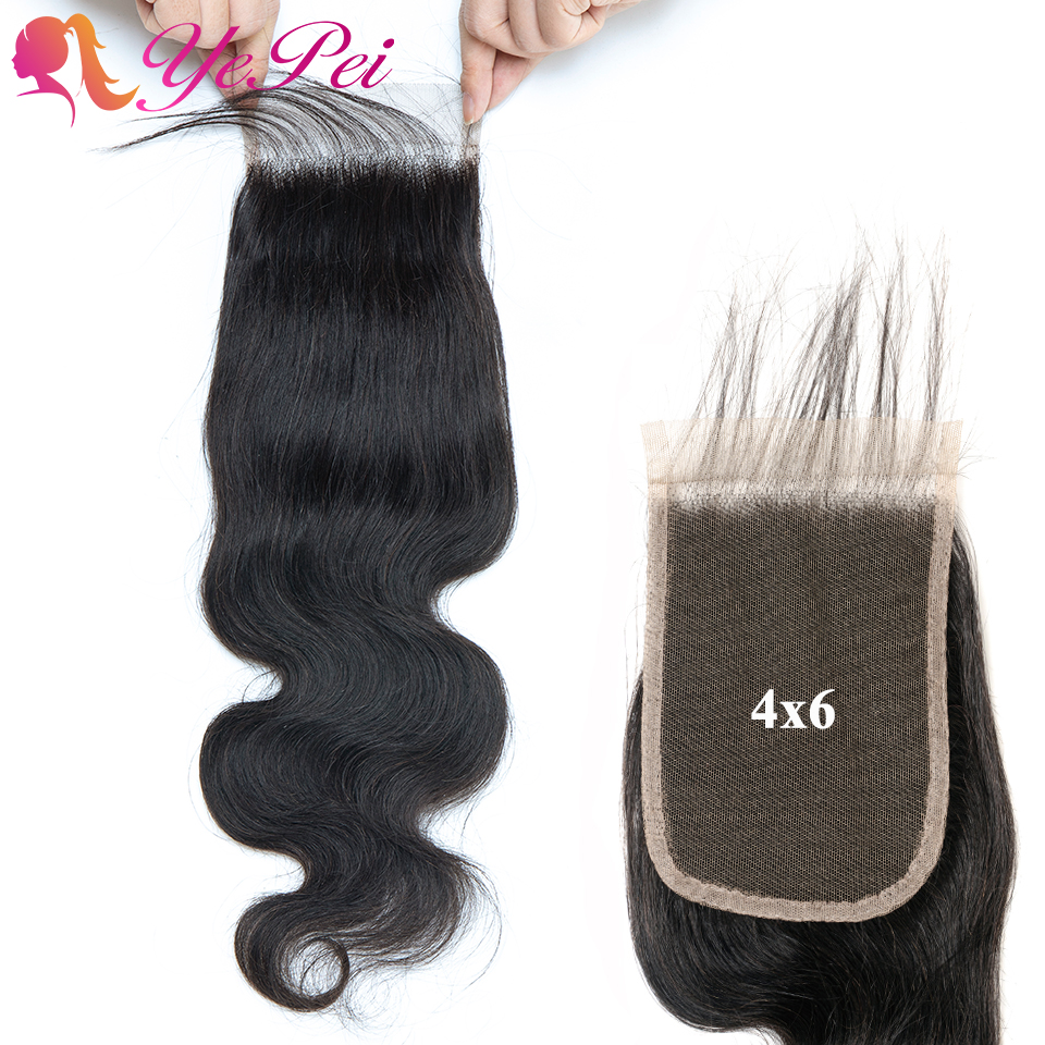 4x6 Body Wave Closure Pre Plucked With Baby Hair Brazilian Remy Hair Swiss Lace Closure 8- 22 Inch Yepei Hair