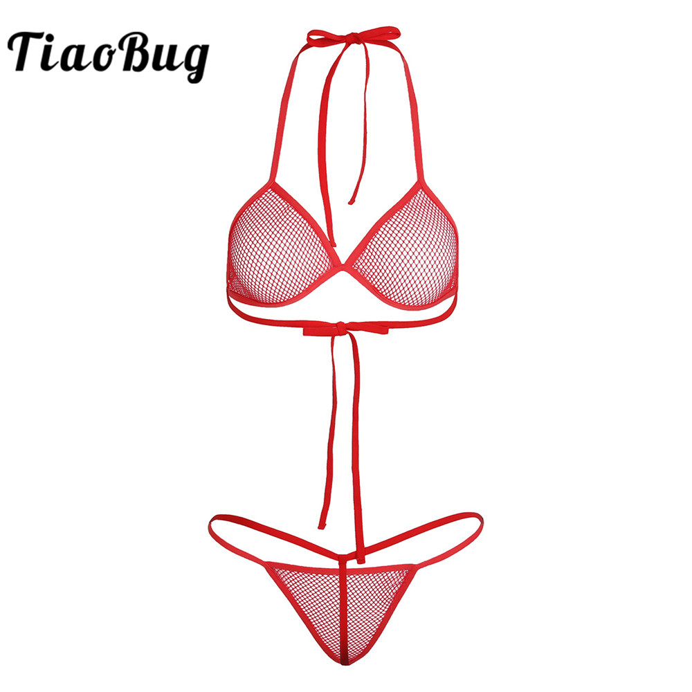 TiaoBug Fishnet See-through Bra Tops With G-string Swimwear Lingerie Women Sexy Mini Bikini Set Swimsuit For Swimming Underwear