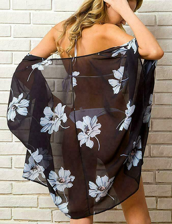 Summer Swimwear Women Chiffon Floral Kimono Beach Cardigan Sheer Cover Up Swimwear Long Blouse Shirts Female Tops