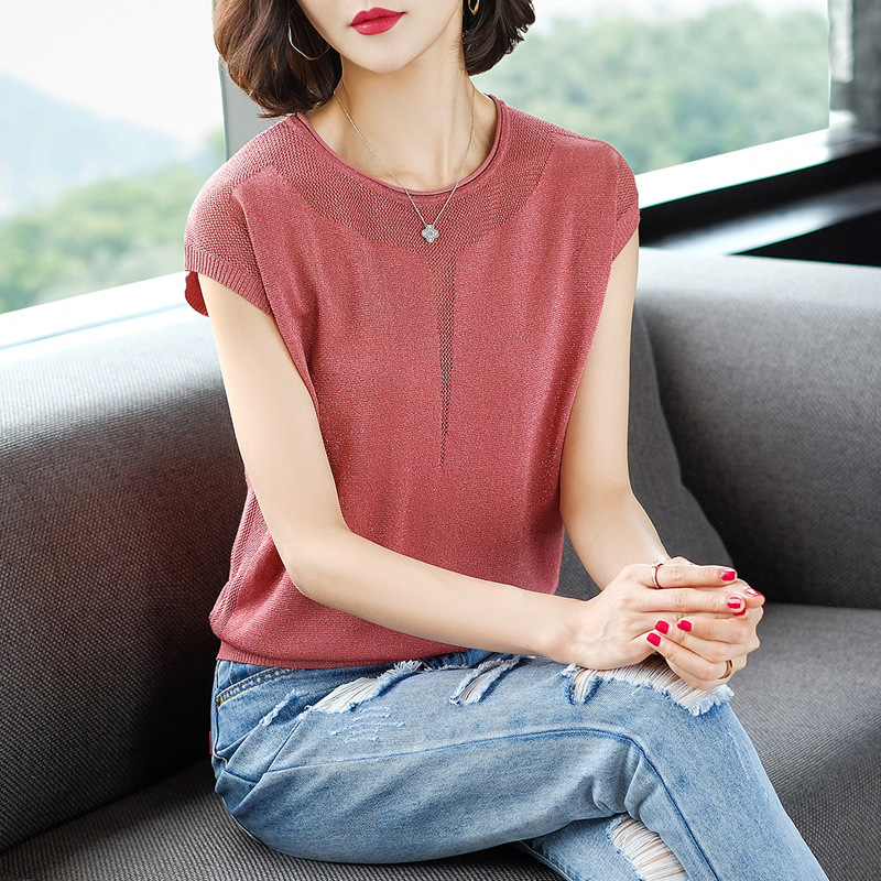 Women's Summer Thin Short-sleeved Solid Color Knitted T-shirt Red
