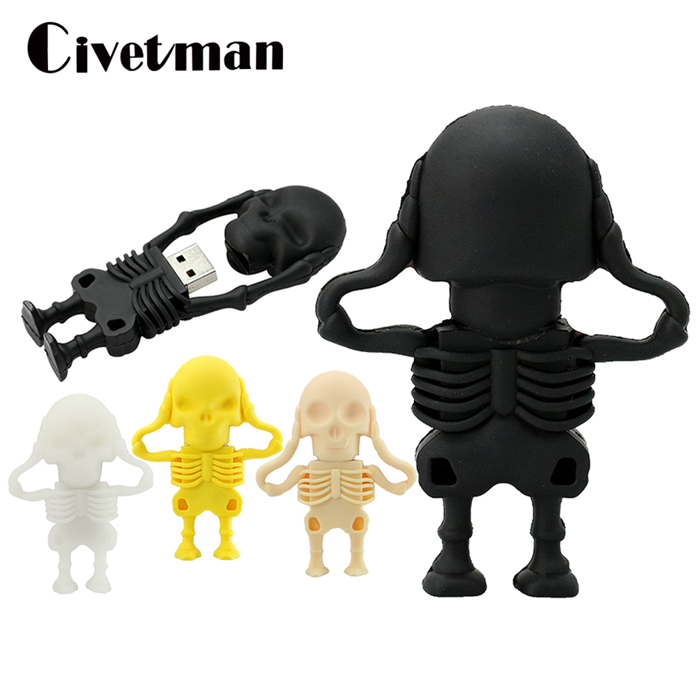 100% Real Capacity USB Flash Drives 8GB 16GB 32GB 64GB New Arrival Fashion Creative Skull Flash Drive Memory Stick Pen Drive
