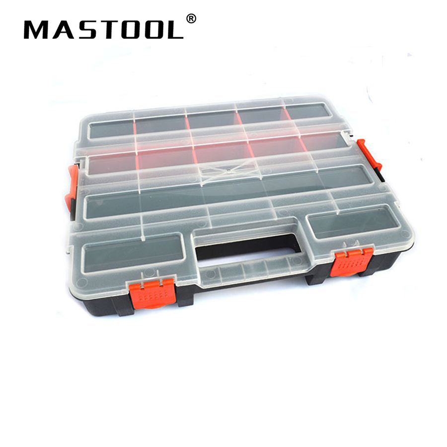Tool Case Large Plastic Storage Screw Box Electronic Element Plastic Storage Double Lock Design Stackable Accessories Tool Box