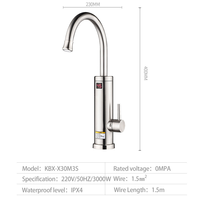 Купить с кэшбэком Kbxstart Instant Hot Water Heater Tap 360 Degree Rotation 2018 Kitchen Faucet With Up Led display and Settable Overheat Protect