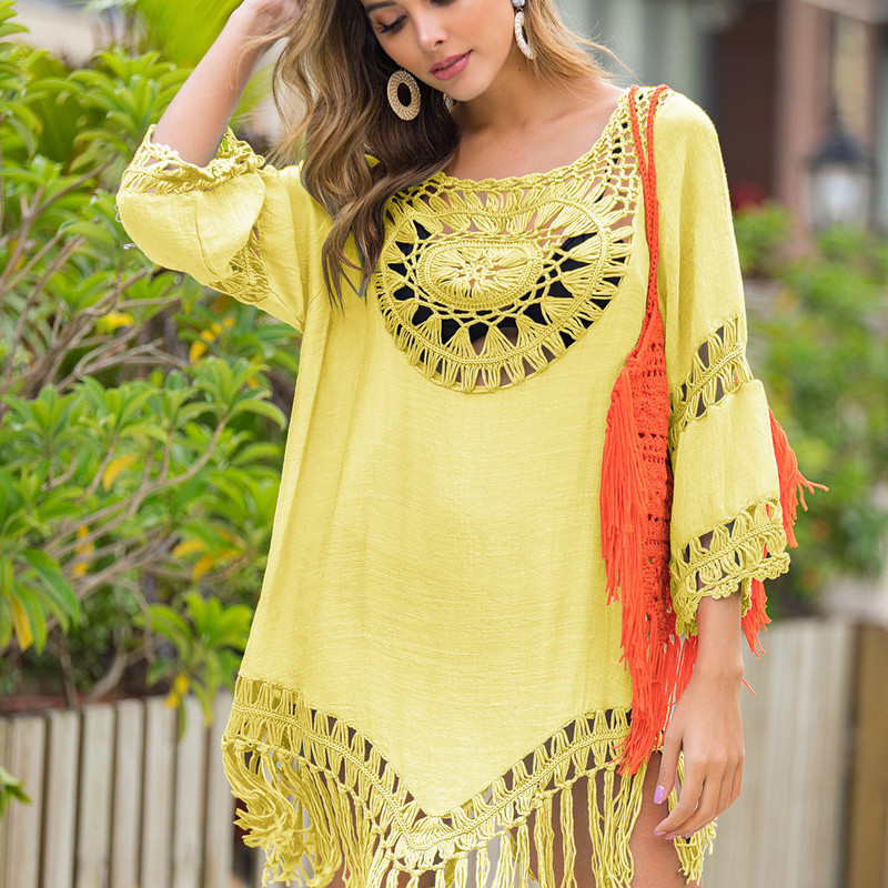 Kaftan Beach Tunic Bikini Cover Up Woman Swimsuits Bathing Trips For 2019 New Plus Size Loose Smock Patchwork Acrylic Sierra