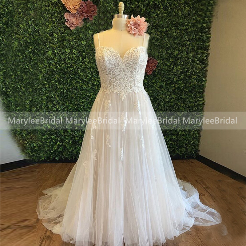 Plus Size Wedding Dresses A-line Spaghetti Straps Robe Sirene Mariage Appliques Tulle Spring Bridal Gowns For Garden Wedding