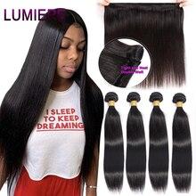 Lumiere mèches de cheveux péruviens 100% naturels, mèches de cheveux Remy lisses, couleur naturelle, Double trame