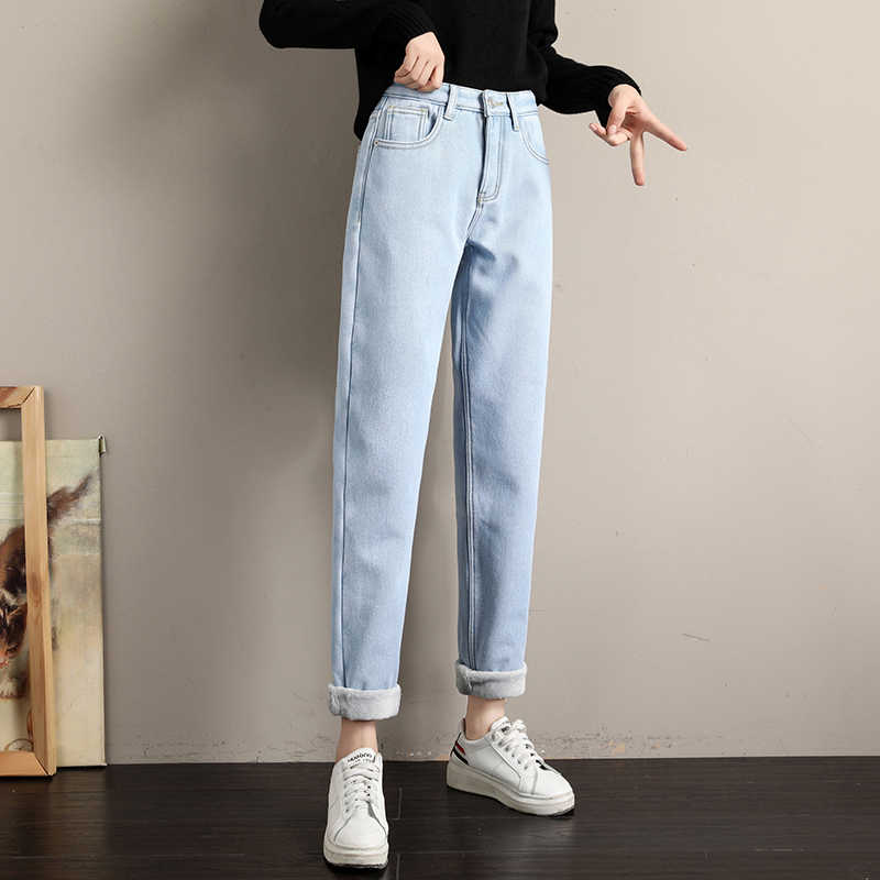 Candy Color Solid Fleece Denim Pants 2019 Women Winter Warm Thickening Jeans Fashion Sexy Loose Jean Pants Trousers P9207