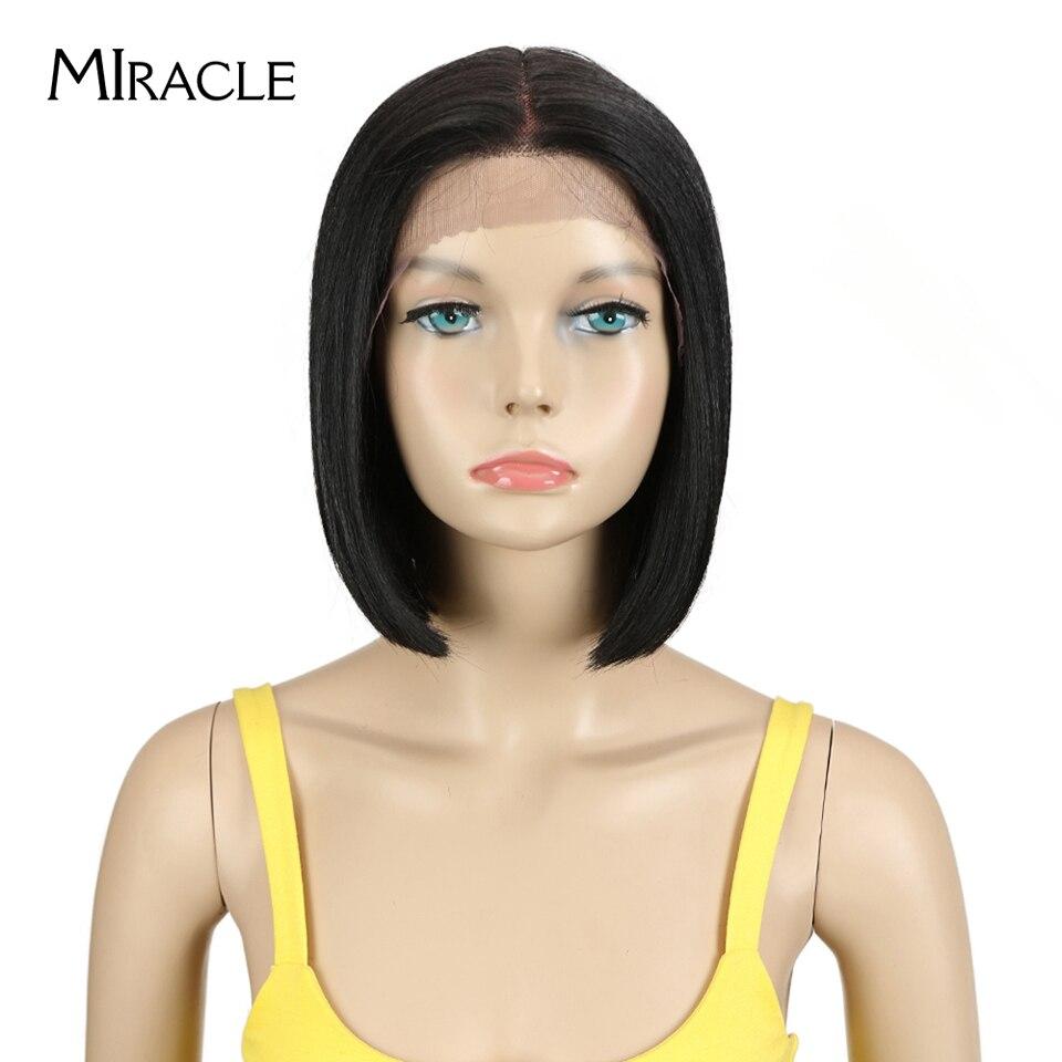 Perruque Lace Front Wig synthétique noire noire-MIRACLE | Perruque frontale à dentelle synthétique ombrée Blonde, perruques Bob pour femmes noires, perruque à dentelle courte