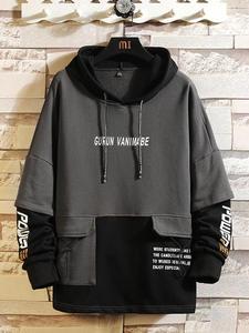 Print Hoodie Sweatshirt O-Neck Hip-Hop Fleece Japan-Style Autumn Thick High-Streetwear