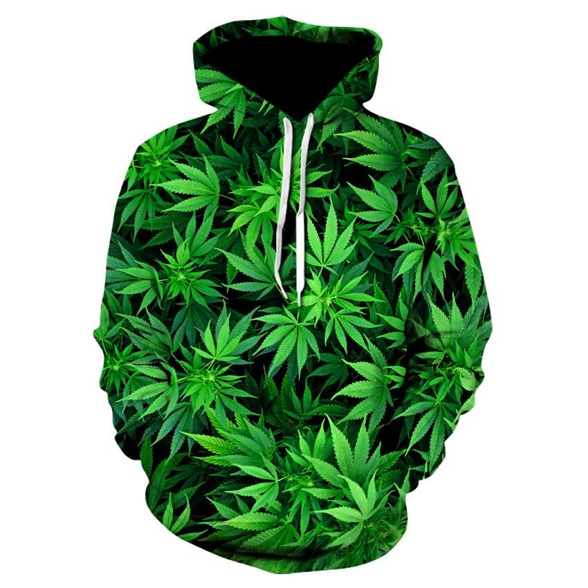 Hot Autumn Hoodies Green Leaves Coat Weeds Jerseys Fashionable Clothing Harajuku 3 D Hoodies Men Casual Jumper Jerseys