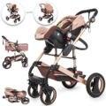 Коляска для младенцев 3 в 1 Складная Роскошная детская коляска с автокреслом