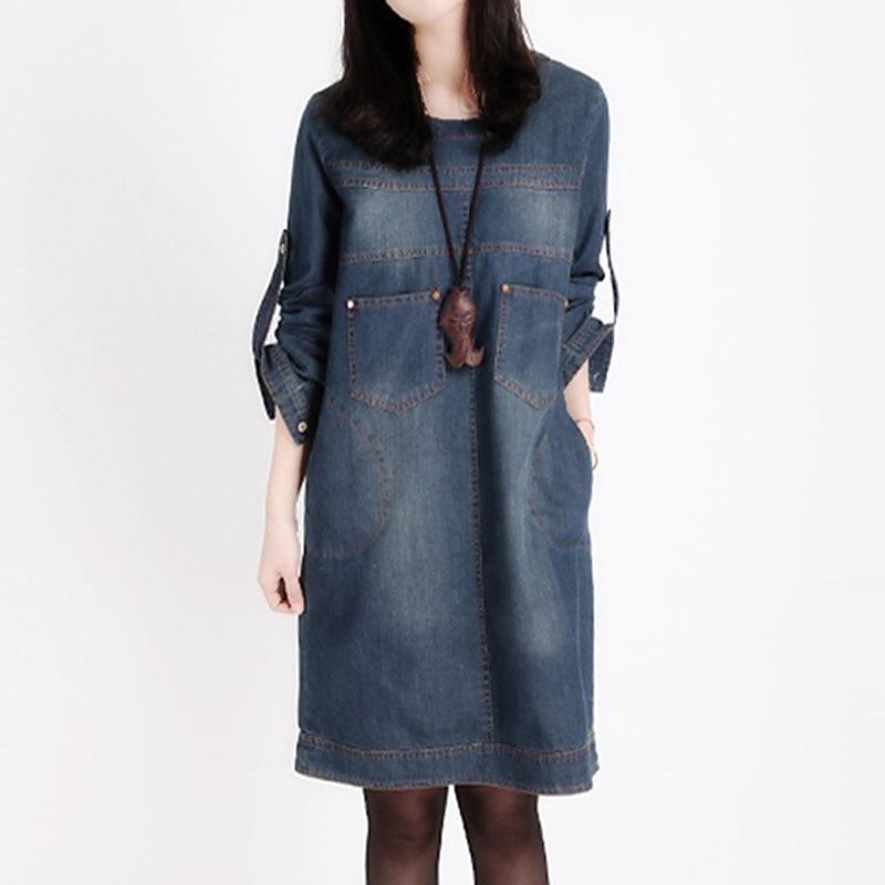 2020 Winter denim dress long sleeve korean loose dress large size women's retro jeans dress causal mini Vestido De Festa 16