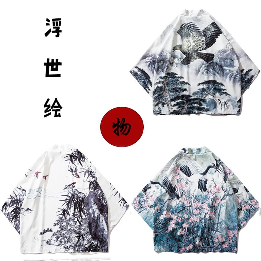 Samurai Haori 2019New Japanese Style Ukiyo-e Cardigan Harajuku Kimono Traditional Clothing Asian Clothes Yukata Men Women Jacket